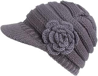 Women Ladies Winter Warm Knitting Hat Berets Brim Cap Pile Turban Cap with Flower Accessories(Gray)