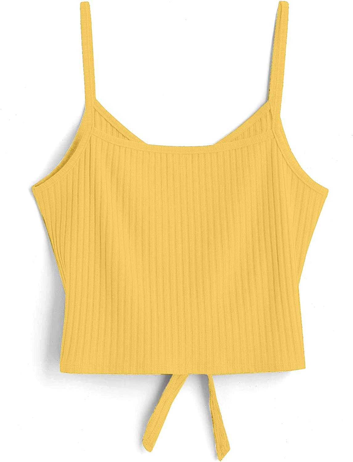 ZAFUL Women's Tank Top Tie Knot Front V Neck Casual Sleeveless Strappy Crop Cami Tops Camisole