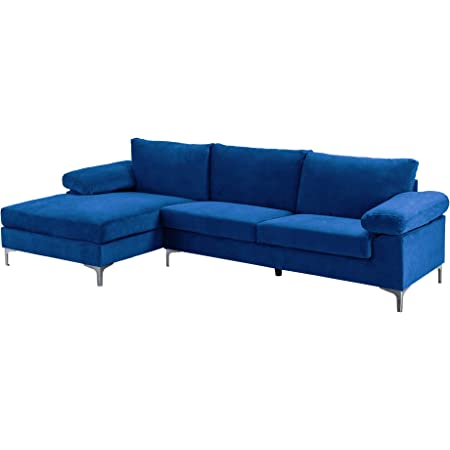 Casa Andrea Milano llc Modern Large Velvet Fabric Sectional Sofa, L-Shape Couch with Extra Wide Chaise Lounge, Navy
