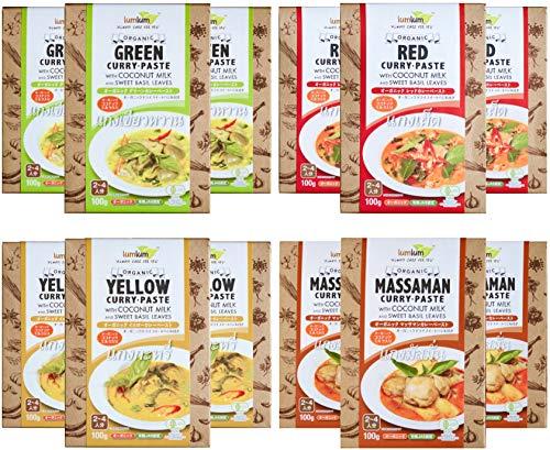 CIVGIS オーガニック タイカレー ペースト ( 全4種類 X 3個 = 12個セット ) ココナッツミルク入 ドライハーブ付【有機JAS認定・グルテンフリー・ヴィーガン】CIVGIS & lumlum Organic Glutenfree Vegan