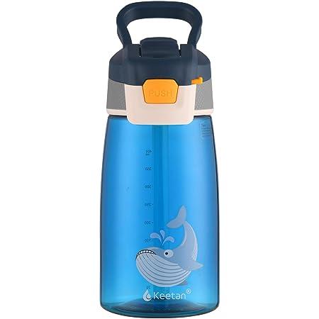 Keetan Kids Water Bottle with Straw, Reusable Drinking Bottle for School, BPA Free, Leak-Proof, 480ml, Blue, Whale