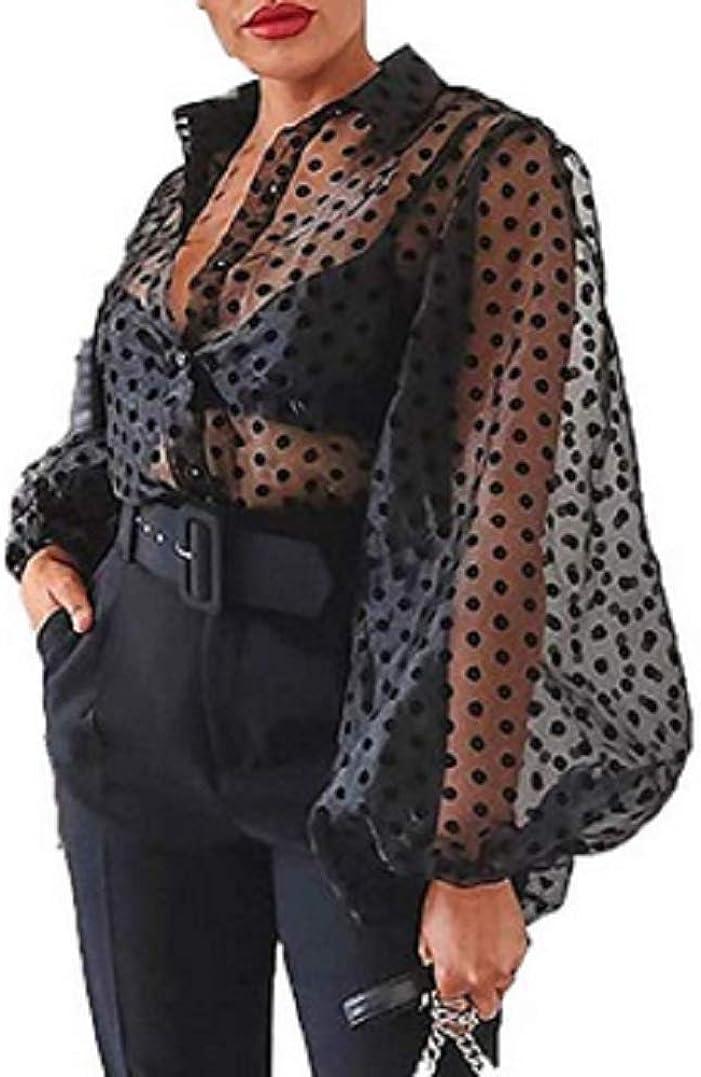 Women'S Button Down Lace Sheer Mesh Shirt See-Through Polka Dot Long Puff Sleeve Tops Chiffon Casual Blouse T Shirts (Black, L)
