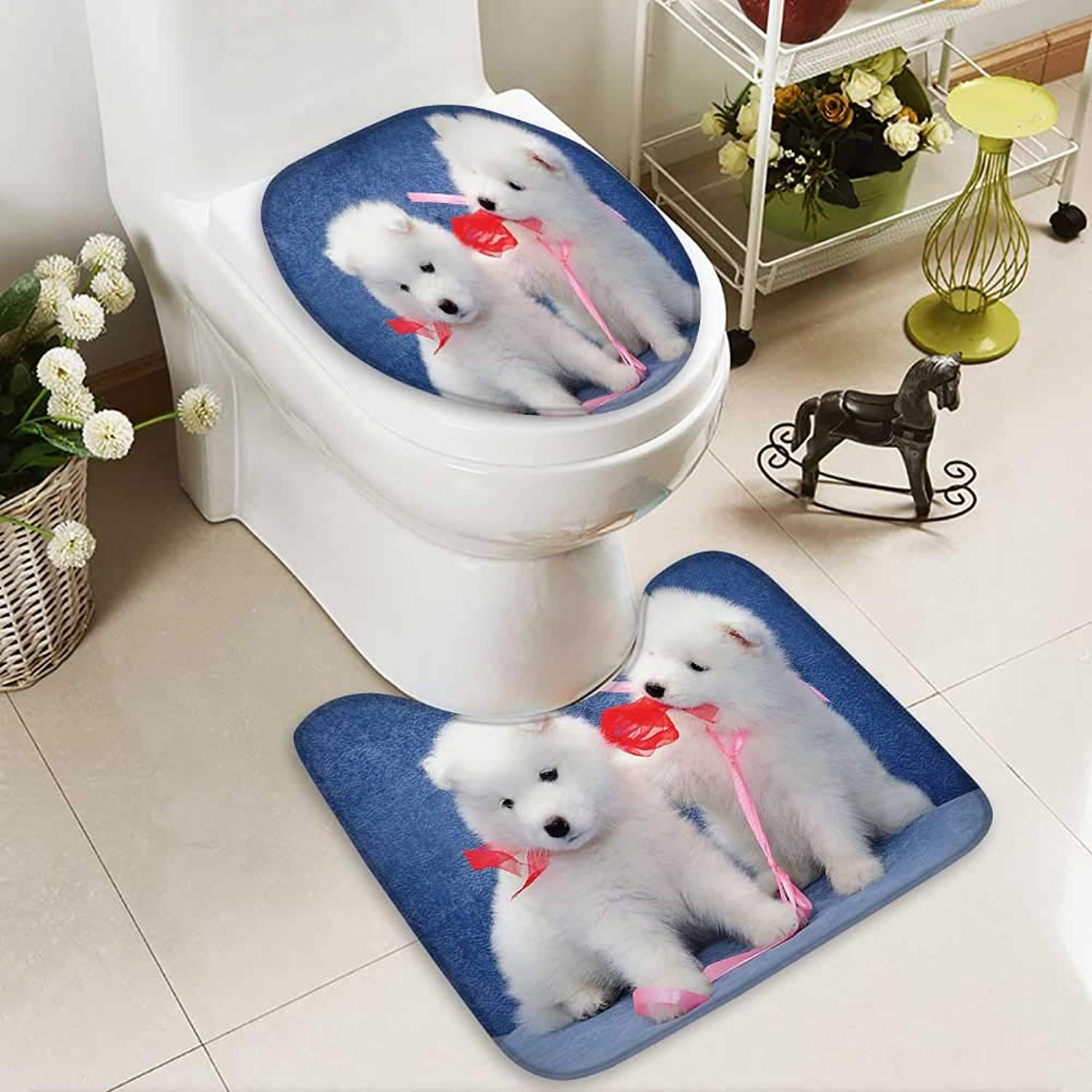 Aolankaili Cushion NonSlip Toilet Mat Cute Puppies Samoyed Dog Playing Each Other's Ribbons Soft NonSlip Water
