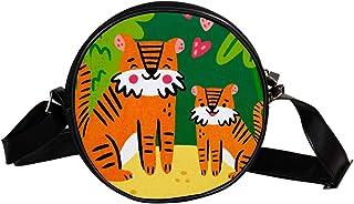 Coosun Umhängetasche mit niedlichem Tiger-Motiv, rund, Schultertasche für Kinder und Damen