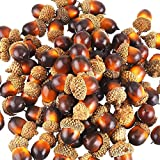 Yarssir 100 Pieces Craft Acorns Artificial Acorn Decor Fake Fruit Props Acorns Decoration Crafting DIY Home Party Wedding Decor Thanksgiving Christmas Festival, Dark Brown 100 Pack