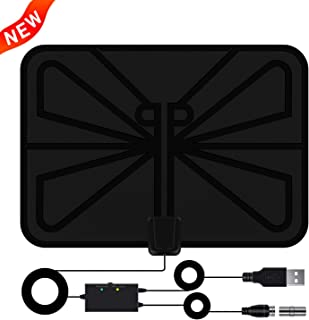 [Upgraded 2019] Antenna TV Digital HD Amplified HDTV Antenna Indoor Up to 80 Miles Range, Support 4K 1080P VHF UHF Freeview Television Local Channels, 16.5ft Coax Cable