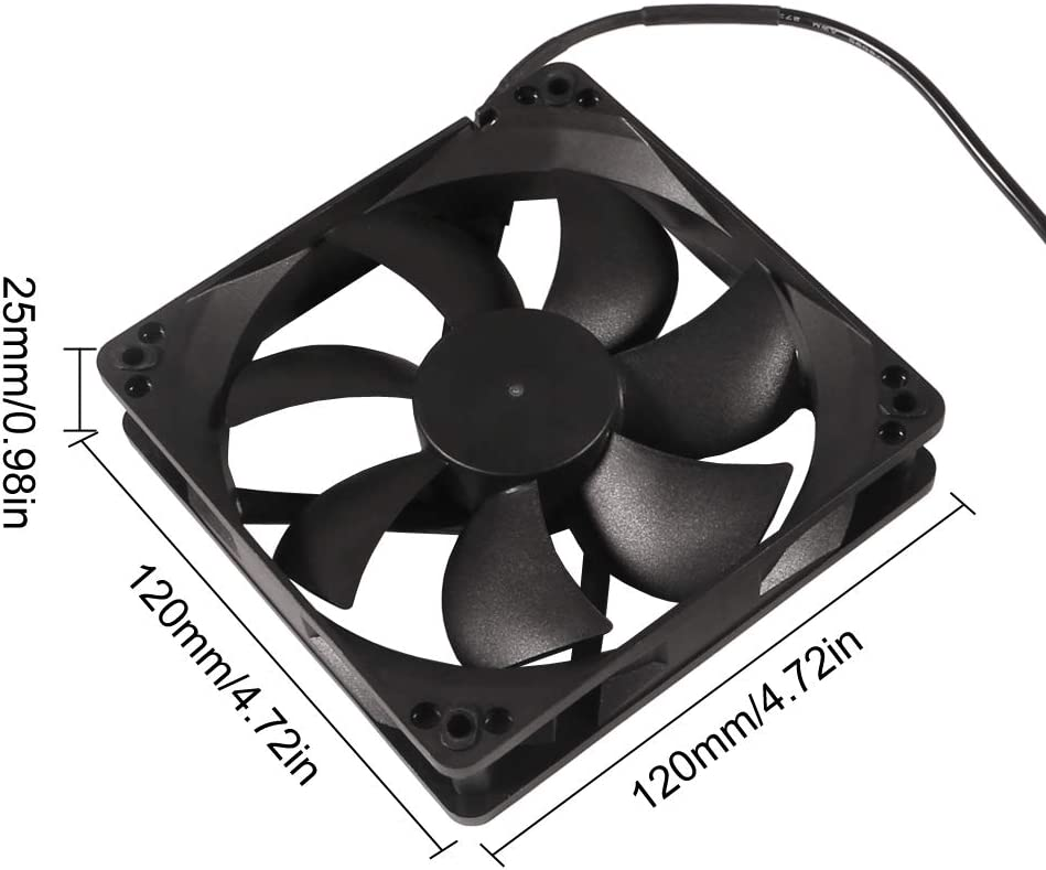 120mm x 25mm 110V 220V AC Powered Cooling Fan with Speed Controller 3V to 12V, 1225 AC 115V 120V 220V 240V for Cooling Ventilation Exhaust Projects, Receiver DVR Playstation Xbox Component Cooling