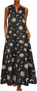 Women Boho Tank Maxi Dress Summer Casual Print V Neck Sleeveless Flowy Swing Evening Party Cocktail Dresses with Pockets