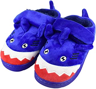Boys Little/Big Kids Warm Plush Shark Slippers with Memory Foam Sole Cute Animal Indoor Outdoor Slip-on Shoes