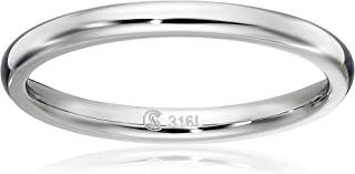 Surgical Stainless Steel 2mm Domed Wedding Band Thumb/Toe Ring Comfort-Fit High Polish, sizes 1-12
