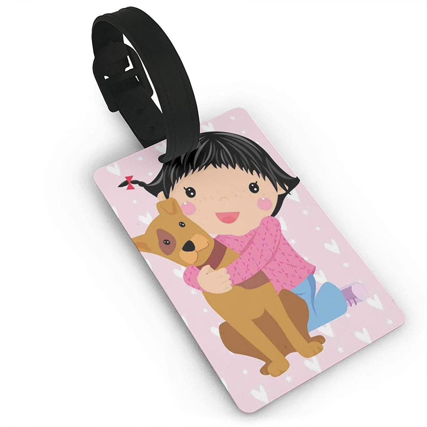 Luggage Tags Flexible Travel ID Identification Labels,Cute Little Girl And Dog Hugging And Smiling Doodle Print With Hearts Backdrop,Travel Accessory With Wristband