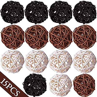 """Lulonpon Wicker Rattan Balls Decorative Orbs Vase Fillers for Craft Project, 15pcs 2"""" Wedding Table Decoration,Themed Party,Baby Shower, Aromatherapy Accessories,Orbs Vase Fillers"""
