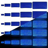 長方形反射テープ 反射シール ステッカー カー スタイリング 安全な材料 安全警告 テープ ステッカーテープ 自己 接着ビニール 高?度 蛍光 防水 装飾 安全 車 バイク 自転車 全天候対応アウトドア 5種サイズ(25枚)青