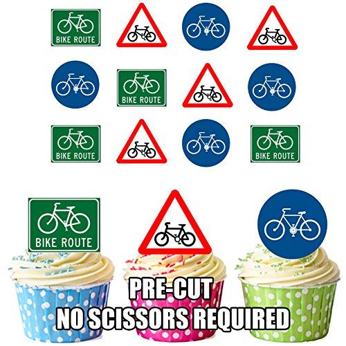 Radfahrenradfahrer-Fahrrad-Verkehrsschilder 12 essbaren Kuchendeckel