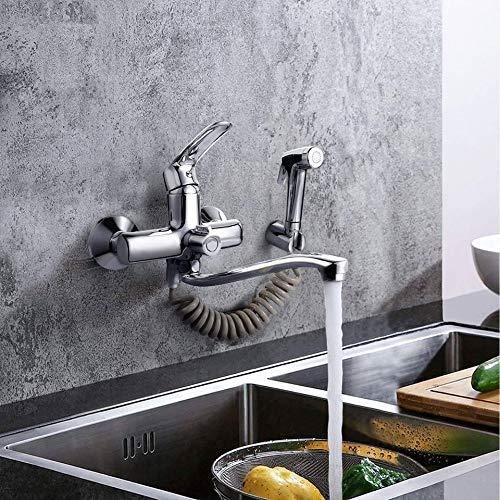 Wasserhahn Küche, Dalmo Küchenarmatur mit Spritzpistole und 2 Wasserstrahlarten, schwenkbarem 360°-Auslauf, Messing-Grundköper, Chrom, Wandmontage Wasserhahn, Einfache Montage Wandarmatur für Küche