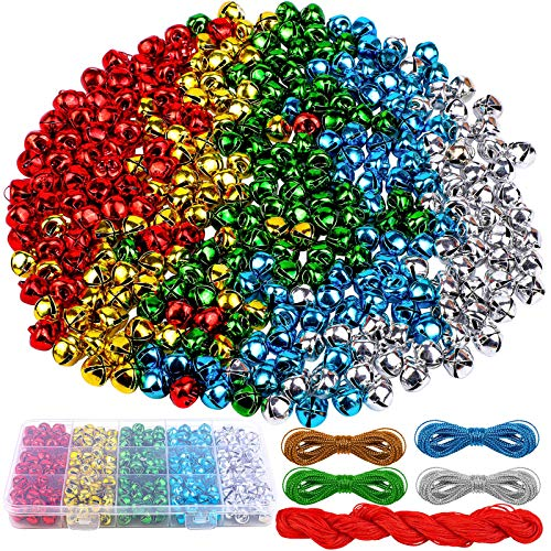 ADXCO 300 Pieces 10 mm Christmas Jingle Bells with Storage Box, Red Cords and Metallic Silver String Mini Bells Bulk Colorful Metal Holiday Bells for Christmas, Festival Decorations and Jewelry Making
