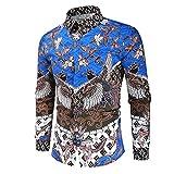 Owenqian Hombre Camisas, Blazers Casuales de Retazos clásicos para Hombre Otoño Primavera Moda Traje Largo Suelto