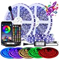 BIHRTC LED Strip Lights 32.8ft 600LEDs SMD 5050 RGB Waterproof LED Light Music Sync Color Changing LED Rope Lights Flexible Strips Lighting with Remote Controller for Bedroom TV Party