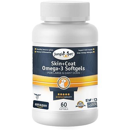 Jungle Pet Skin + Coat Omega-3 Softgels - Large/Giant Dogs - Skin & Coat Gels - with Vitamin E, Clear Capsule
