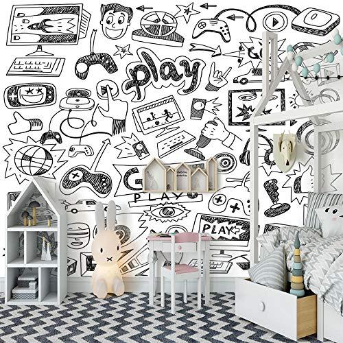 ZDPLL Fotomurales Consola de juegos negra Papel pintado tejido no tejido Decoración de Pared decorativos Murales moderna Diseno 140x100cm