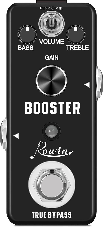 Rowin Pedal analógico Micro Boost para amplificación de señal pura de guitarra eléctrica, con mini tamaño, True Bypass