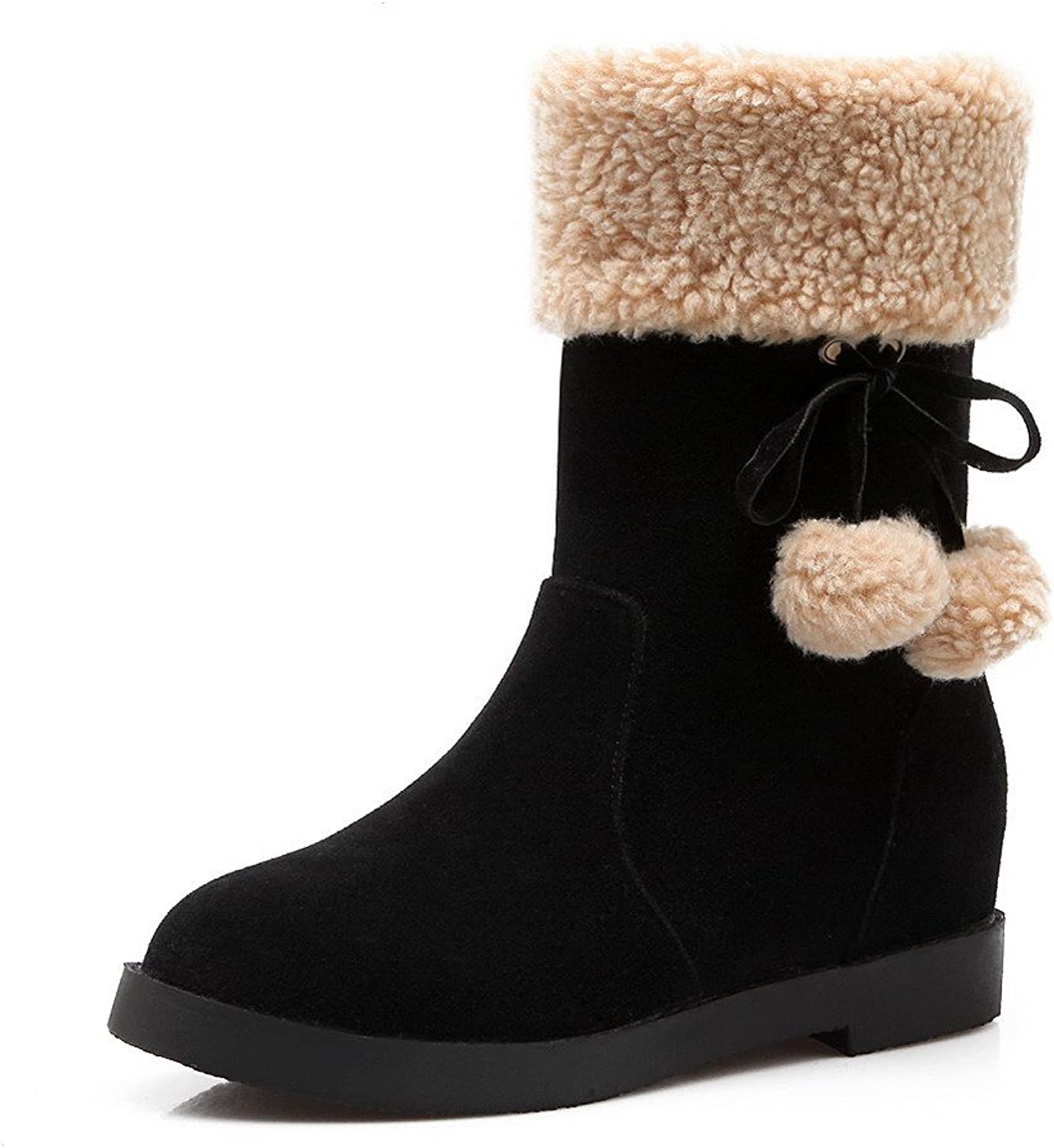 AllhqFashion Women's Kitten-Heels Solid Closed Round Toe Frosted Pull-On Boots
