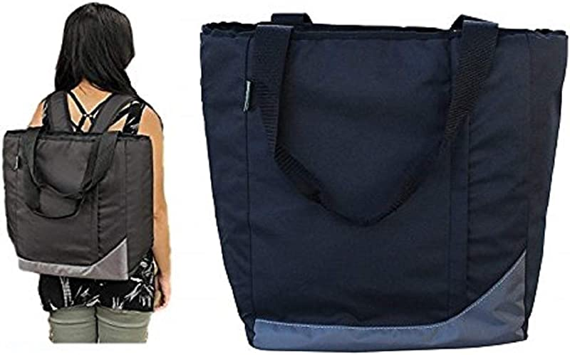 Earthwise Insulated Grocery Bag Backpack Shopping Tote With Multiple Zipper Pockets And Backpack Carrying Straps Perfect For Grocery Shopping And Food Delivery