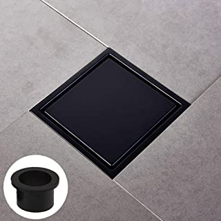 [Rubber Gasket Included]Square Shower Floor Drain with Tile Insert Grate - 6