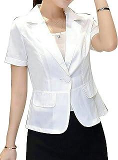 9ece7a6cb93 ARTFFEL-Women Stylish Short Sleeve One Button Solid Office Blazer Suit  Jacket Coat