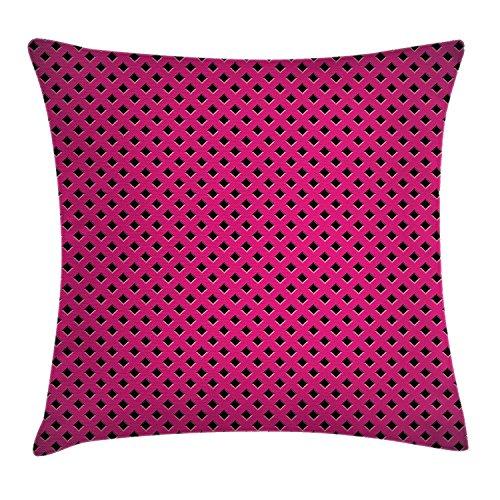 JIMSTRES Magenta Throw Pillow Cushion Cover, Diamond Line Grill Wire Design Logo Digital Motif Illustration Print, Decorative Square Accent Pillow Case, Black Fuchsia 20x20 inches