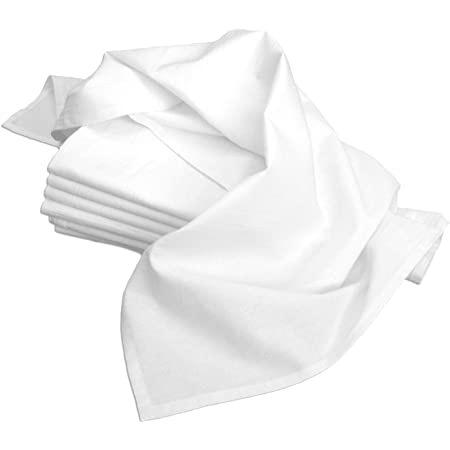 Aunt Martha's 33-Inch by 38-Inch Flour Sack Dish Towels, Premium 130 Thread Count, White, Set of 7