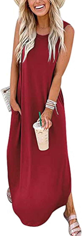 Maxi Dress for Women, Women's Casual Loose Pocket Long Dress Sleeveless Split Maxi Cover Up Boho Dresses