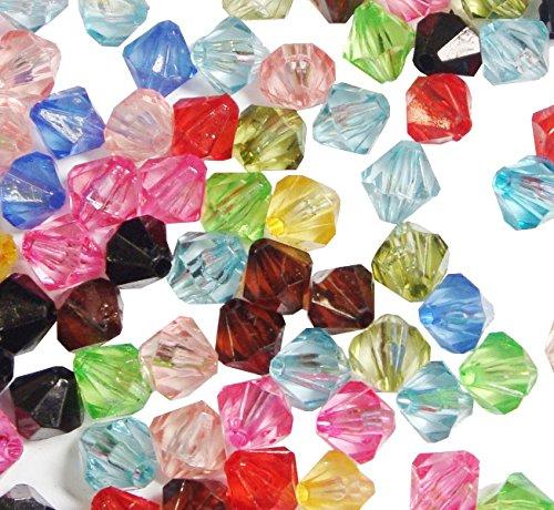 750 Kunststoffperlen Luxus Acrylperlen Plastik 6mm Doppelkegel Mix Perlen Pack POSTEN Perle zum fädeln für DIY Schmuck Herstellung D806A