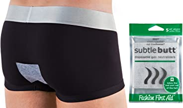 Subtle Butt: Reusable Gas Neutralizers (5 Activated Carbon Fart Pads) - Great Gag Gift, April Fool's