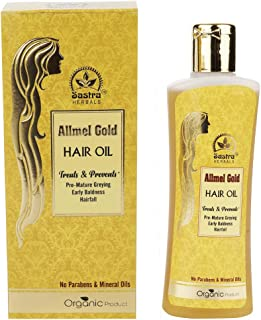 Sastra Herbals Allmel Gold Hair Oil (100ML), Organic Regrowth Herbs with Pure Coconut Oil as Base, Paraben Free