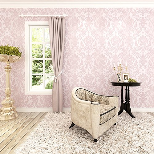 HANMERO 10m Classic Nonwoven Glitter Flocking Textured Damask Wall Paper Roll for Bedroom Living Room Pink