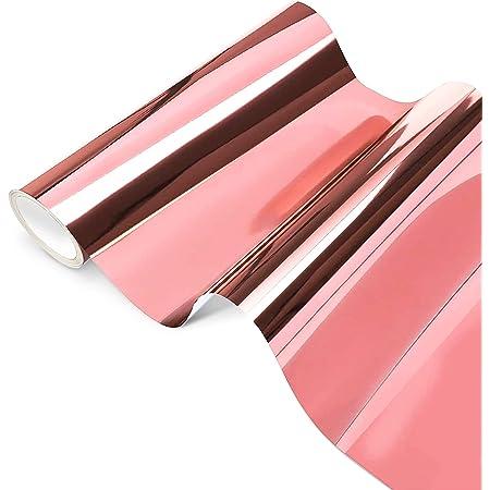 Feuilles de Vinyle Adhésives Permanent Opale Holographique, Or rose Chrome Vinyl 30,5 x 250 cm, Chrome Rose Gold pour Silhouette Cameo, la Décoration de Fête, Idéal pour Vos Projets.
