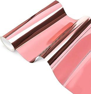 Feuilles de Vinyle Adhésives Permanent Opale Holographique, Or rose Chrome Vinyl 30,5 x 250 cm, Chrome Rose Gold pour Silh...