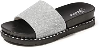 Comfortable/beautiful sandals and slippers Fashion Slippers Women Wear Wild Korean Students Thick Bottom Sandals Casual Home Slippers (Color : Silver)