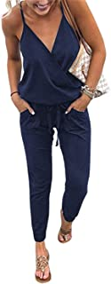 QEESMEI Women's Jumpsuits Rompers V Neck Spaghetti Strap Drawstring Elastic Waisted Long Pants Jumpsuits