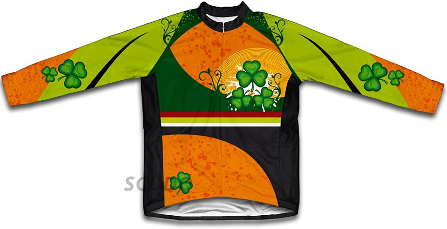 St. Patrick's Day Lucky Leaf Winter Thermal Cycling Jersey for Women