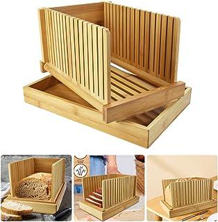 EMAGEREN Trancheuse à Pain en Bambou Réglable Machine a Couper le Pain Pliable Trancheuse à Pain Manuelle Facile a Install...