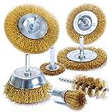 S&R Set 7 Spazzole Metalliche per Trapano per Ruggine Metallo Legno. Codolo 6 mm liscio. P...
