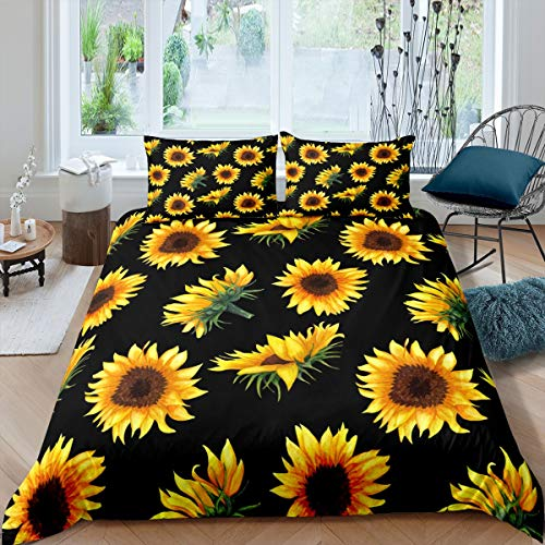 Tbrand 3D Floral Duvet Cover Sunflower Printed Bedding Set for Kids Women Adults Yellow Flowers Botanical Comforter Cover Green Plants Bedspread Cover Bedroom Collection 3Pcs King Size
