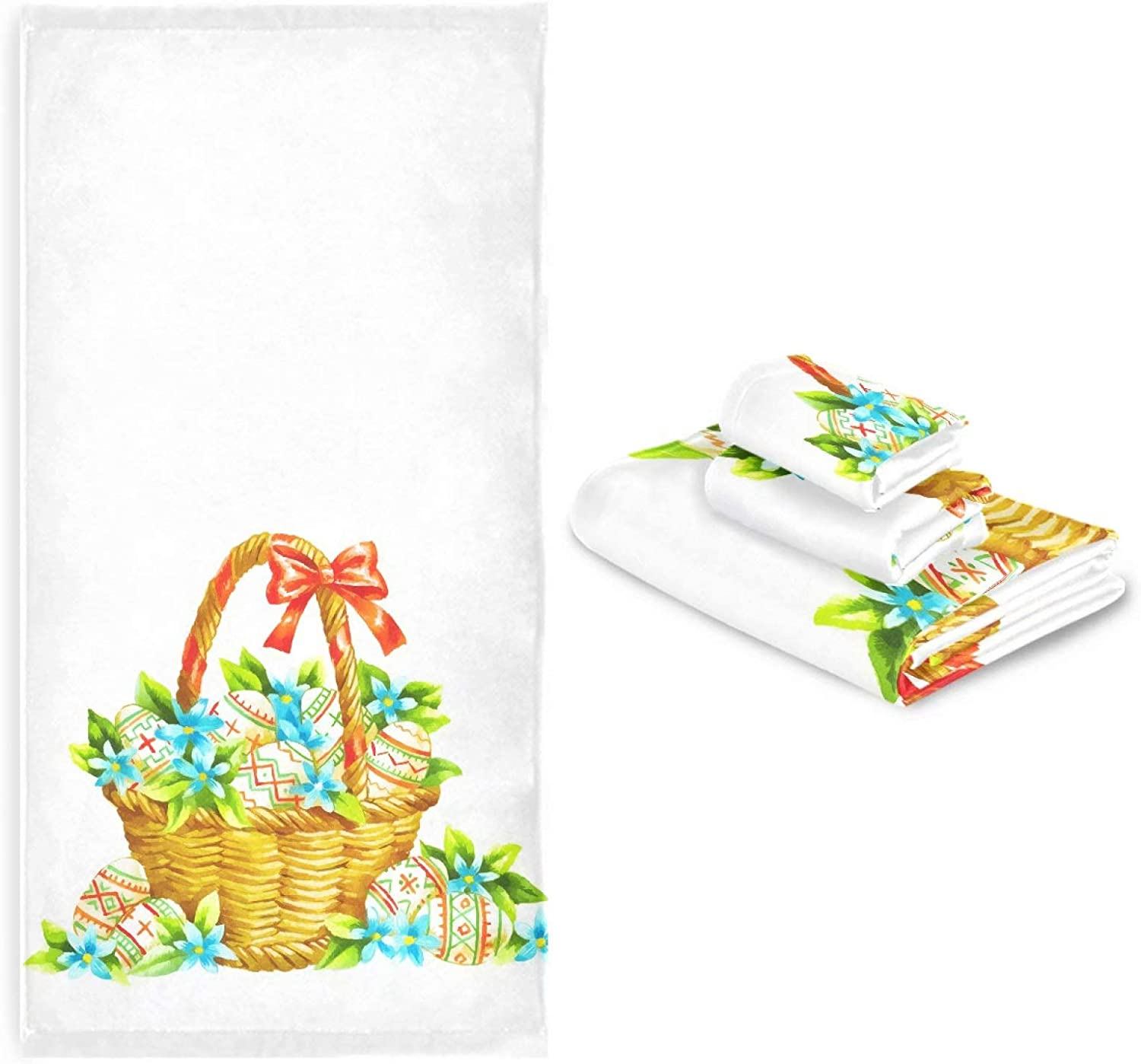 Easter Eggs Bath Towels Set of Flowers Hand Challenge the lowest price Watercolor 3 Tucson Mall Spring