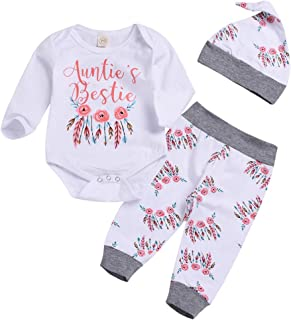 Newborn Toddler Baby Girls 3pcs Outfit Set Auntie's Bestie Romper + Floral Pants Feather Bodysuit Clothing Set