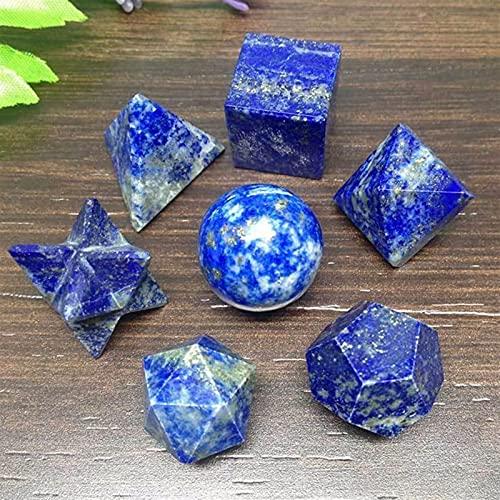 JSJJARF Cristal Naturel 7pcs Lapis Lazuli Platon Solids Set Géométrique Set Crystal de guérison Chakra Reiki