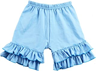 Wennikids Baby Girl Double Ruffle Cotton Girl Shorts