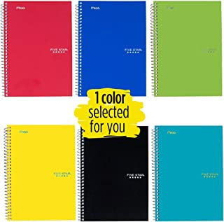"""Five Star Spiral Notebook, 2 Subject, College Ruled Paper, 100 sheets, 9-1/2"""" x 6"""", Color Selected For You, 1 Count (06180)"""