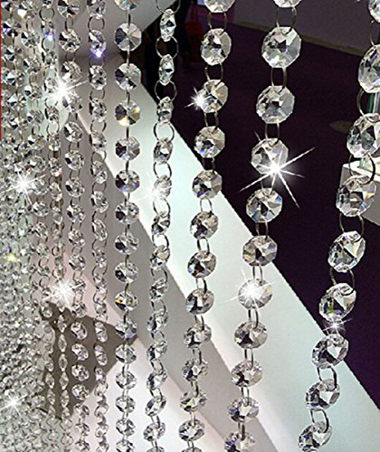 V-look 10.5 Feet Clear K9 Crystal Chandelier Prism Lamp Octagon Bead Chain Christmas Wedding Pendant